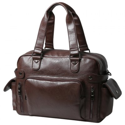 Leisure PU Leather and Zipper Design Briefcase For Men