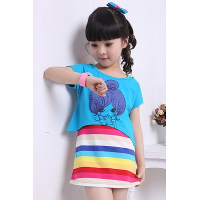Cute Cartoon Print T-Shirt + Rainbow Striped Hooded Dress Twinset For Girl