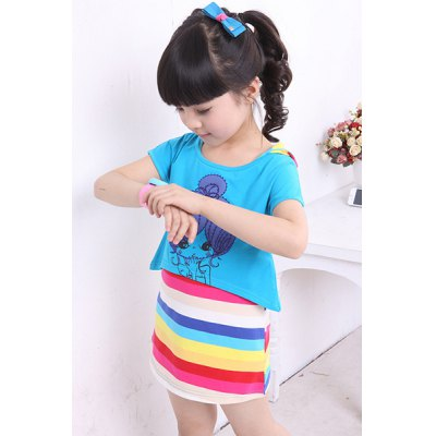 Cute Cartoon Print T-Shirt + Rainbow Striped Hooded Dress Twinset For GirlGirls Clothing<br>Cute Cartoon Print T-Shirt + Rainbow Striped Hooded Dress Twinset For Girl<br><br>Style: Cute<br>Material: Cotton Blend<br>Silhouette: Straight<br>Dresses Length: Mini<br>Neckline: Hooded<br>Sleeve Length: Short Sleeves<br>Pattern Type: Striped<br>With Belt: No<br>Season: Summer<br>Weight: 0.170kg<br>Package Contents: 1 x T-Shirt  1 x Dress