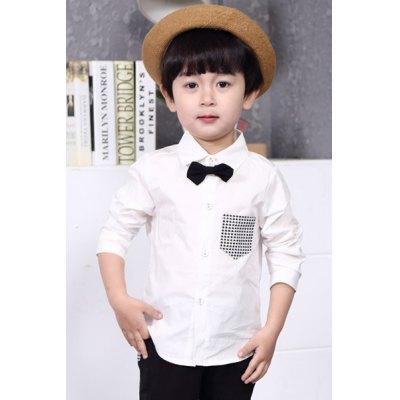 Long Sleeve Plaid Pocket Design Shirt For Boy