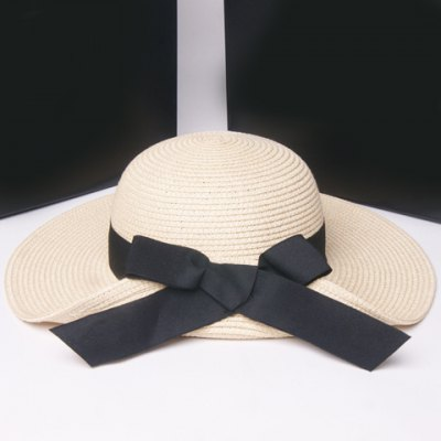 Fashionable Flanging Big Bowknot Embellished Straw Hat For Women