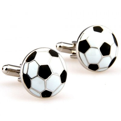 Pair of Stylish Football Shape Embellished Alloy Cufflinks For Men