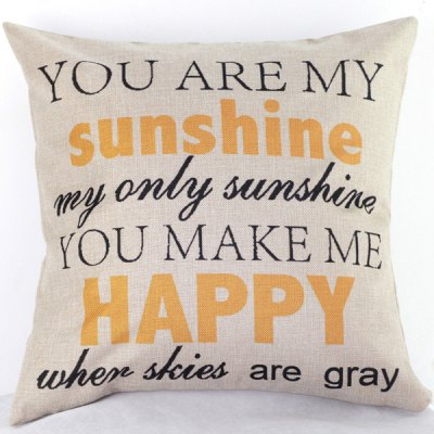Chic Letters Pattern Printed Linen Cotton Pillow Case(Without Pillow Inner)