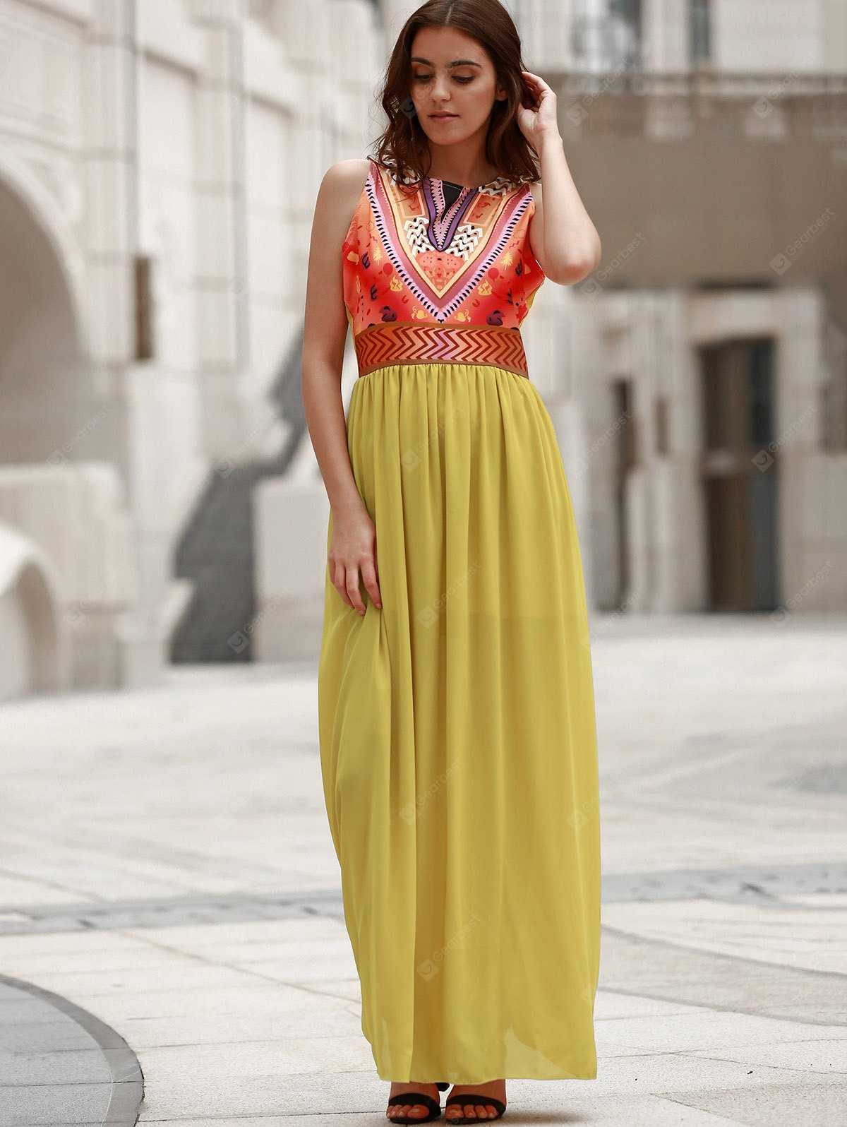 Bohemian Style Sleeveless Round Neck Printed Women's Dress S YELLOW