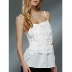 Sweet Daisy Lace Design Spaghetti Strap Chiffon Tank Top For Women