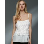 Sweet Daisy Lace Design Spaghetti Strap Chiffon Tank Top For Women for sale