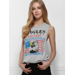 Fresh Style Eagle Printed Side Boob Tank Top For Women deal