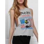 Fresh Style Eagle Printed Side Boob Tank Top For Women