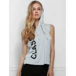 Active Hooded Letter Printed Side Boob Tank Top For Women
