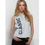 Active Hooded Letter Printed Side Boob Tank Top For Women deal