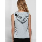 Active Hooded Letter Printed Side Boob Tank Top For Women photo