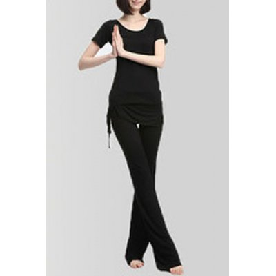 Casual Scoop Neck Bowknot Short Sleeve Yoga Suits For WomenYoga<br>Casual Scoop Neck Bowknot Short Sleeve Yoga Suits For Women<br><br>Gender: For Women<br>Material: Modal<br>Weight: 0.470KG<br>Package Contents: 1 x T-Shirt  1 x Pants