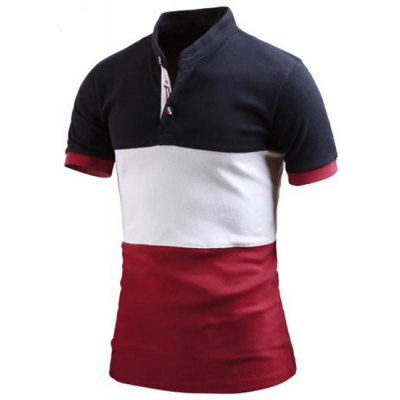 Stand Collar Color Block Splicing Short Sleeve Men's Polo T-Shirt