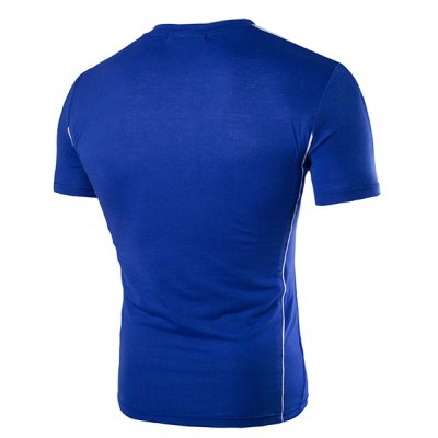 Round Neck Shoulder Splicing Design Short Sleeve T-Shirt For Men