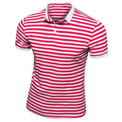 Short Sleeves Stripe Half Button Turn Down Collar Polo T-Shirt For Men