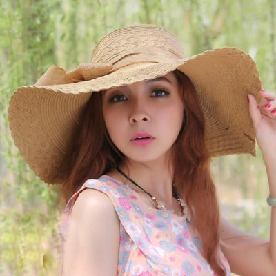 Fashionable Bowknot Embellished Wavy Edge Solid Color Straw Hat For Women