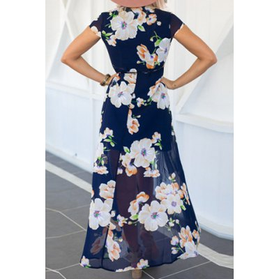 Sexy V-Neck Short Sleeve Floral Printed High Slit Dress For Women