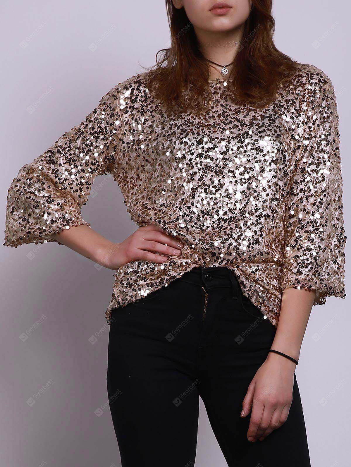 Stylish Jewel Neck Half Sleeve Sequined Loose T-Shirt For Women