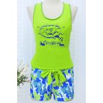 cheap Chic Scoop Neck Sleeveless Compass Print Lace-Up Two-Piece Women's Swimsuit