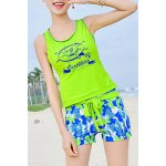 Chic Scoop Neck Sleeveless Compass Print Lace-Up Two-Piece Women's Swimsuit