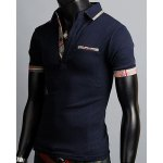 Turn-Down Collar Color Block Purfled Design Short Sleeve Men's Polo T-Shirt deal