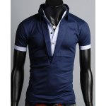 Turn-Down Collar Color Block Splicing Single Breasted Design Short Sleeve Men's Polo T-Shirt