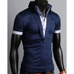 cheap Turn-Down Collar Color Block Splicing Single Breasted Design Short Sleeve Men's Polo T-Shirt