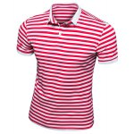 Slim Fit Short Sleeves Stripe Half Button Polo T-Shirt For Men