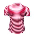 cheap Slim Fit Short Sleeves Stripe Half Button Polo T-Shirt For Men