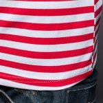 Slim Fit Short Sleeves Stripe Half Button Polo T-Shirt For Men photo