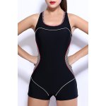 Active Scoop Neck Color Spliced Striped One-Piece Swimsuit For Women