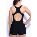 Active Scoop Neck Color Spliced Striped One-Piece Swimsuit For Women for sale