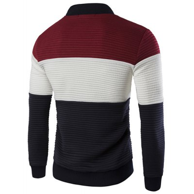 Stand Collar Color Block Spliced Long Sleeve Jacket For Men