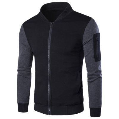 Stand Collar Rib Spliced PU-Leather Long Sleeve Jacket For Men