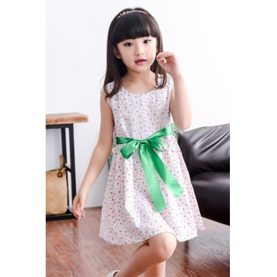 Sweet Tiny Floral Scoop Neck Sleevless Dress
