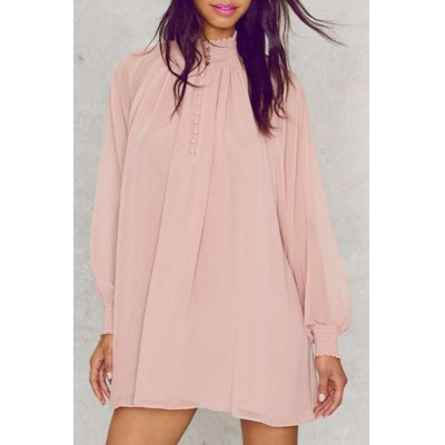 Stand Collar Puff Sleeve See-Through Dress For Women