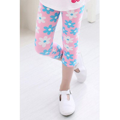 Cute Elastic Waist Sunflower Print Colored Cropped Leggings For Girl