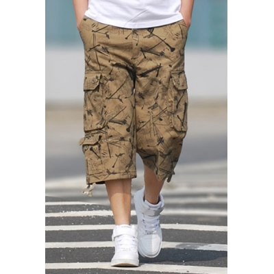 Straight Leg Letters Print Stereo Patch Pocket Zipper Fly Men's Shorts