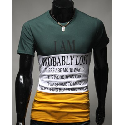 Round Neck Hit Color Splicing Letters Pattern Short Sleeve Men's T-Shirt