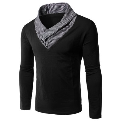 Special Collar Long Sleeves Splicing T-Shirt For Men
