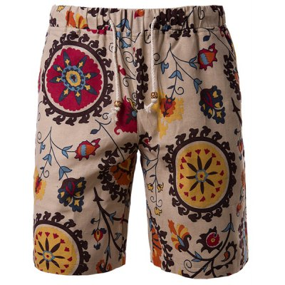 Vogue Straight Leg Floral Print Lace-Up Cotton+Linen Shorts For Men