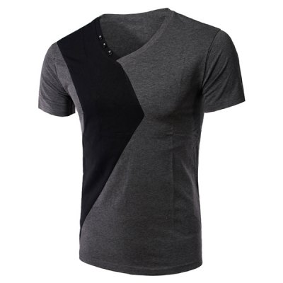 Slimming Splicing V Neck Short Sleeves T-Shirt For Men