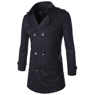Turn-Down Collar Long Sleeve Trench Coat