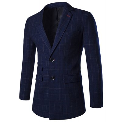 Checked Lapel Long Sleeve Single Breasted Blazer For Men