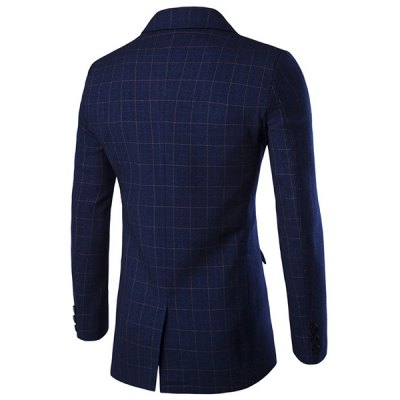 ezzue - Checked Lapel Long Sleeve Single Breasted Blazer For Men
