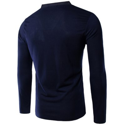ezzue - Slimming V-Neck Single Pocket Long Sleeves T-Shirt For Men