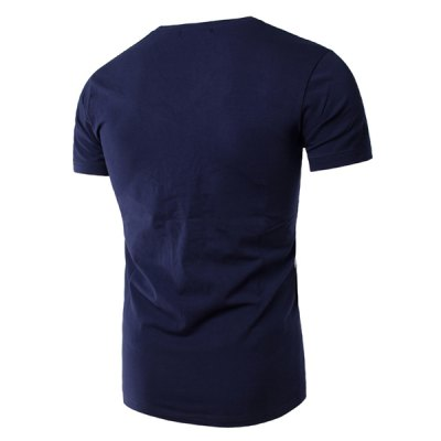 Slimming Splicing V-Neck Short Sleeves T-Shirt For Men