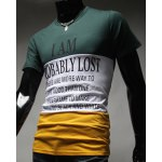 cheap Round Neck Hit Color Splicing Letters Pattern Short Sleeve Men's T-Shirt