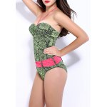 cheap Women's Stylish Flower Print Halter One Piece Swimwear