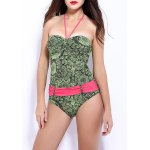 Women's Stylish Flower Print Halter One Piece Swimwear
